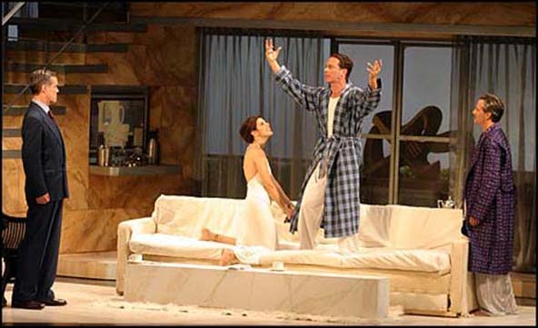 Jack Gilpin, Steven Weber, Marisa Tomei and Campbell Scott in the 2004 Williamstown Theatre Festival production of Design For Living