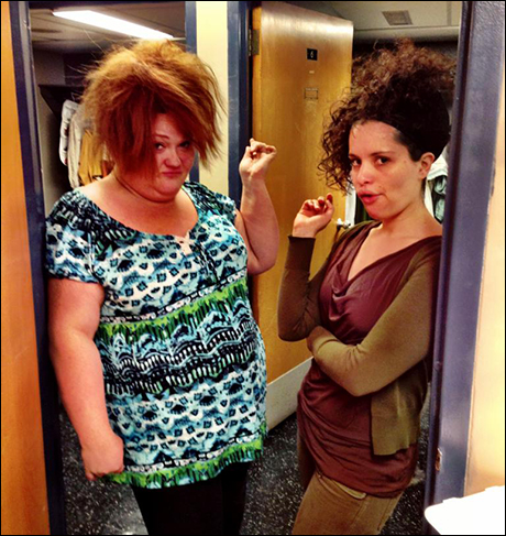 Our dressing room hallway was reminiscent of a college dorm. Shawna (Mme Thernardier) and Briana (Eponine) put on their Mean Girl 'tudes and hair hahaha