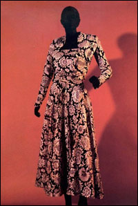 1948 Christian Dior black, gold and tan floral cocktail dress ensemble.