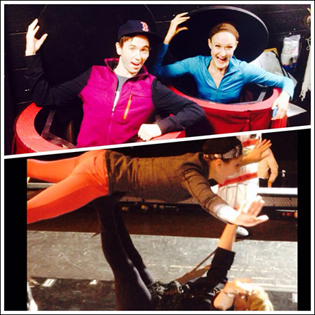 A little pre-sound check shenanigans. After a long bus ride, you never know what sound check will bring out of us. (Garett Hawe and Lauren Krautman do the table pop and Sally makes a flying table out of our youngest, Liesl Jaye)