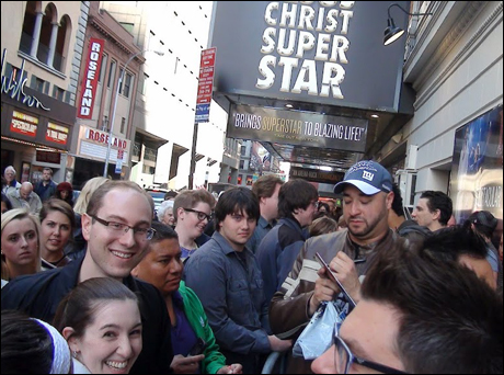 After the matinee, Lee Siegel (Simon Zealots - What a voice this guy has! He stops Act One every show!) and the company are mobbed at the stage door!  Seems they enjoyed the matinee!  A LOT!