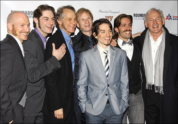 Justin Greer, Spencer Plachy, Jim Walton, Kyle Coffman, Nick Corley and Eric Sciotto with Victor Garber