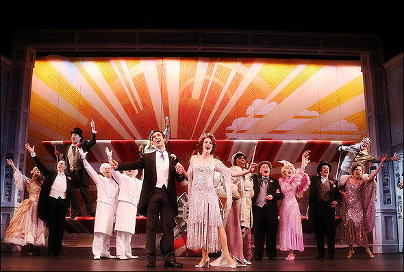 Johnny Stellard and Paige Faure (center) with the cast of The Drowsy Chaperone