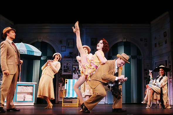 Paige Faure and Aaron Kaburick with the cast of The Drowsy Chaperone