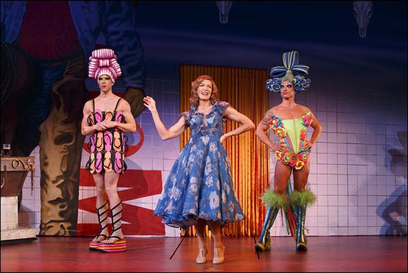 Wade McCollum as Mitzi, Scott Willis as Bernadette and Bryan West as Felicia