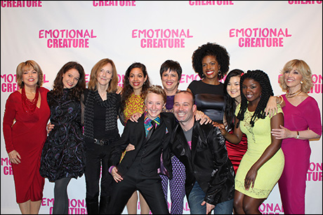 Back row: Producer Pat Mitchell, Molly Carden, director Jo Bonney, Sade Namei, playwright Eve Ensler, Ashley Bryant, Olivia Oguma, Joaquina Kalukango and producer Carole Black   Front row: Emily Grosland and Associate Producer Tony Montenieri