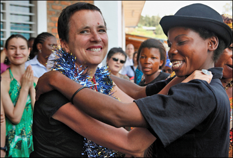 Eve Ensler in Democratic Republic of Congo for the V-Day Opening of The City of Joy, 2011.