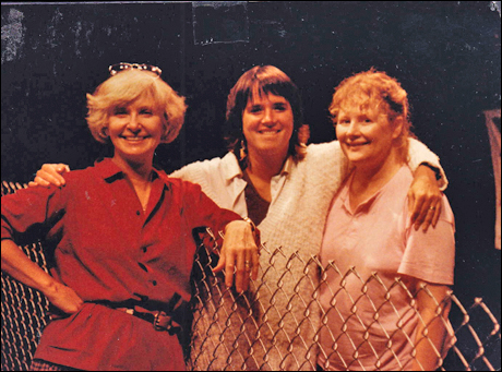 Joanne Woodward, Eve Ensler and Shirley Knight rehearsing The Depot, 1990.