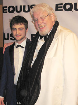 "Daniel Radcliffe (L) and Richard Griffiths at the opening night party for ""Equus"" at Chelsea Piers."