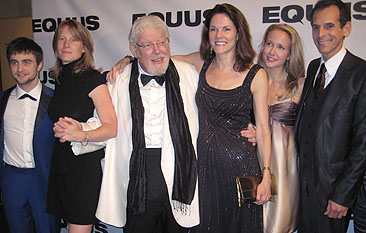 "(L-R) Daniel Radcliffe. director Thea Sharrock. Richard Griffiths. Carolyn McCormick. Anna Camp. T. Ryder Smith at the opening night party for ""Equus"" at Chelsea Piers."