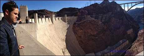 Nicky B peering into the Hoover Dam!