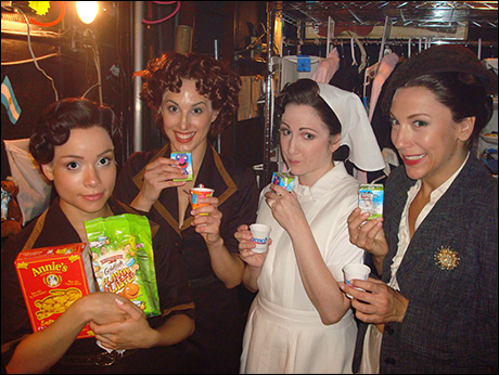 "After ""Money"", the big dance number in the 2nd Act, it's snack time for Booth 2!  One of the only breaks we get in the show. Time to relax with some goldfish and juice boxes before the ""Montage."""