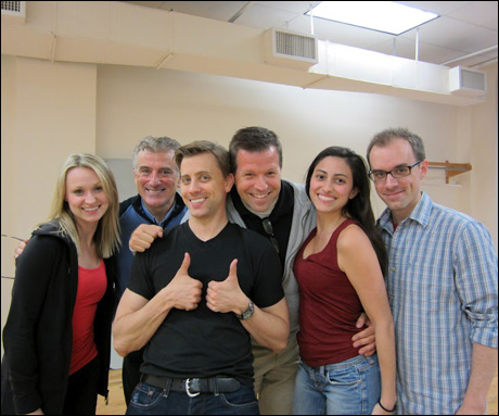 From left to right: Karolina Blonski (Graziella), Greg Ganakas (director), Michael Jablonski (Riff), Paul Hardt (casting), Natalie Cortez (Anita) and Kyle Norris who was our NY music director.