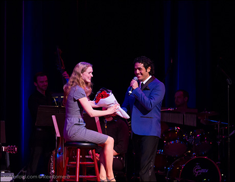 Adam surprised his wife Kelly (a member of the Broadway cast of Mary Poppins) with flowers and a Filipino love song!