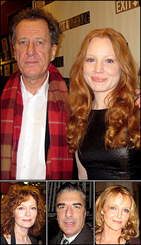 <I>Exit the King</I> stars Geoffrey Rush with Lauren Ambrose; and Susan Sarandon as well as guests Chris Noth and Miranda Richardson