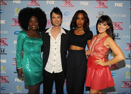 Kelly Rowland with Finalists Lillie McCloud, Jeff Gutt and Rachel Potter
