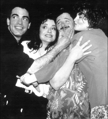 Peter Gallagher, Josie de Guzman, Nathan Lane and Faith Prince in the recording session for Guys and Dolls