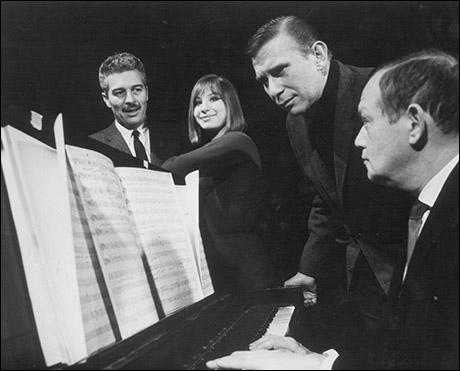 In rehearsal: Sydney Chaplin, Streisand, Bob Merrill and Jule Styne
