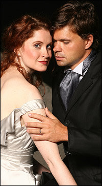 Christiane Noll and Hunter Foster star in <i>Frankenstein</i>.