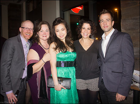 General Managers Scott Newsome & Laura Janik Cronin of Brierpatch Productions pose with Katie Lee Hill (Hortense), choreographer Lorna Ventura, and Curtis Holbrook (the Frog).