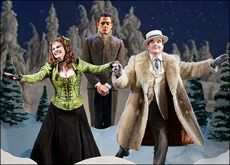 Heather Ayers as Miss Evangeline Barley, Ken Barnett as Monty Navarro and Jefferson Mays as Asquith D'Ysquith Jr.