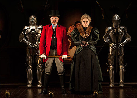 Jefferson Mays as Lord Adalbert D'Ysquith and Heather Ayers as Lady Eugenia