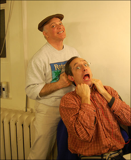 We are a very lovingly lethal cast. Eddie Korbich fondly embraces Price Waldman…with a garrote.