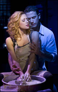 Caissie Levy and Richard Fleeshman in the Broadway musical <i>Ghost</i>