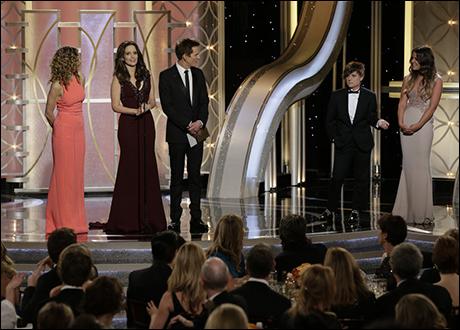 Presenter Kyra Sedgwick, Host Tina Fey, Presenter Kevin Bacon, Host Amy Poehler, Miss Golden Globe Sosie Bacon