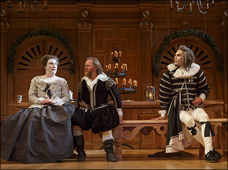 Paul Chahidi, Colin Hurley and Angus Wright in Twelfth Night