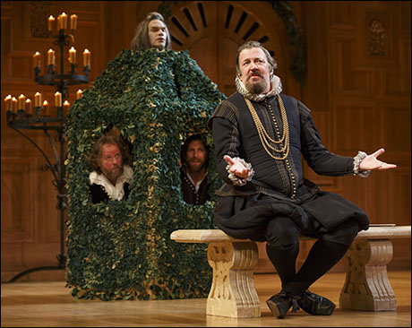 Stephen Fry with Angus Wright, Jethro Skinner and Colin Hurley in Twelfth Night