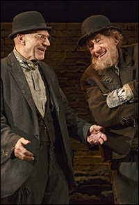 Patrick Stewart and Ian McKellen in <i>Wiating for Godot</i>.