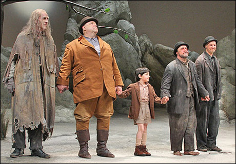 The cast of Waiting for Godot at curtain call