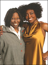 <I>Sister Act</I> producer Whoopi Goldberg (l.) and her star, Patina Miller (r.)