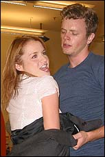 David Larsen and Kate Reinders in rehearsal for <I>Good Vibrations</I>