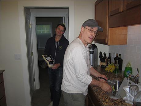 Veteran character actor Mark Zimmerman shares tricks of the trade with newbie Ross Lekites