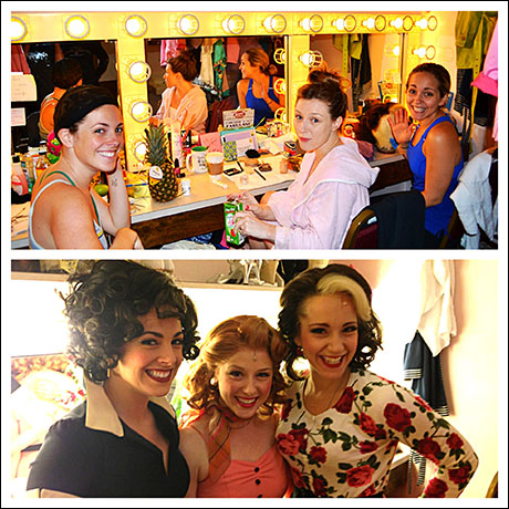Kate Fahrner (Rizzo), Lilly Tobin (Frenchy), and Rachel Camp (Marty) have decided to form their own fake casting company. And it's very cut-throat.  Notice the pineapple on the dressing room station. Yep, that's from me. I want some leads darn-it.