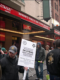 Stagehands picket the St. James Theatre, home of <I>The Grinch</I>.