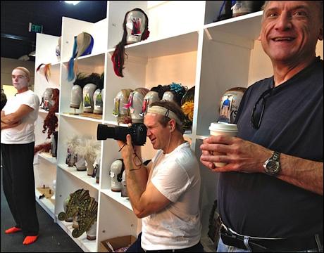 Jack Doyle (Scuttle) waits for his wig, John B. Williford (Ensemble) taking photos and Ron Wisniski (Grimsby) giving Playbill a million dollar smile!