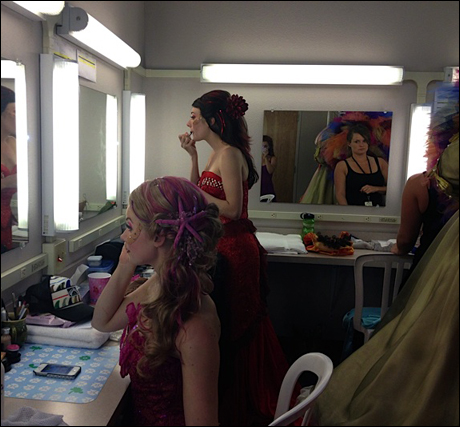 Visiting our beautiful ladies in the ensemble as they prepare for the second show (Bradley Benjamin and Jenny Florkowski)