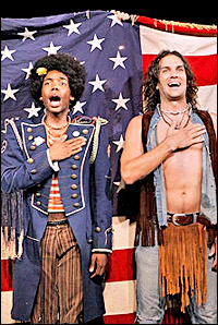 Tommar Wilson and Will Swenson in <I>Hair.</I>