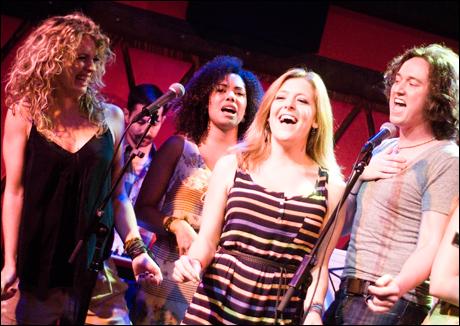 Hair cast members Kacie Sheik, Tanesha Ross, Emily Afton and Tripp Fountain