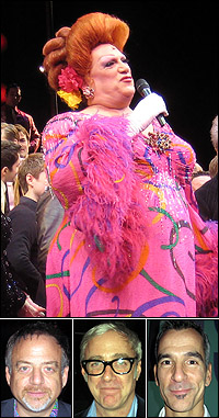 Harvey Fierstein at <I>Hairspray</I>'s final curtain with Marc Shaiman, Scott Wittman and Jerry Mitchell