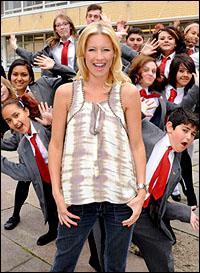 Denise Van Outen with Kingsmead School students