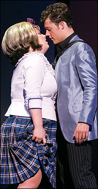 Leanne Jones and Ben James-Ellis in the West End's <i>Hairspray</i>.