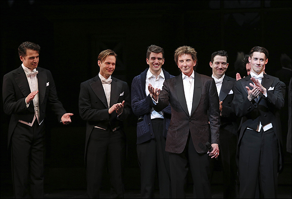 Douglas Williams, Will Taylor, Shayne Kennon, Composer Barry Manilow and cast members Matt Bailey, Will Blum (obscured) and Chris Dwan