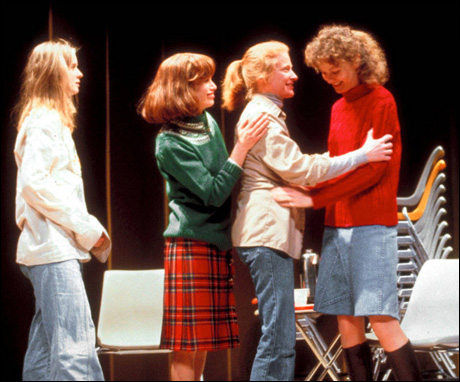 Joan Allen, Joanne Camp, Anne Lange and Cynthia Nixon in Broadway's The Heidi Chronicles, 1989