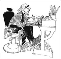 Al Hirschfeld. Self Portrait in My Barber Chair. Ink on board, 1983