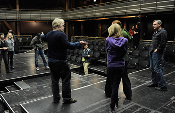 Director Philip Seymour Hoffman rehearses the 2010 Goodman Theatre production Brett C. Leonard's Long Red Road.