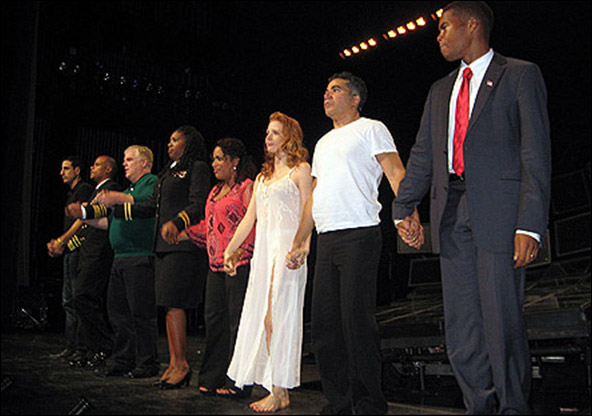 The opening night curtain call for the 2009 Off-Broadway revival Othello.